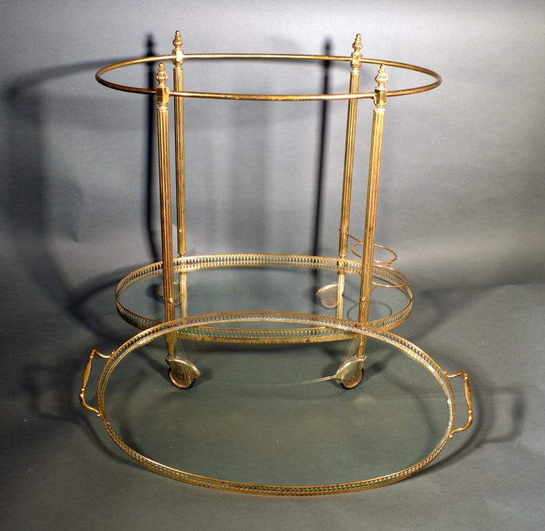 Mid-Century Modern French Brass and Glass Bar Cart, the 1950s For Sale 2