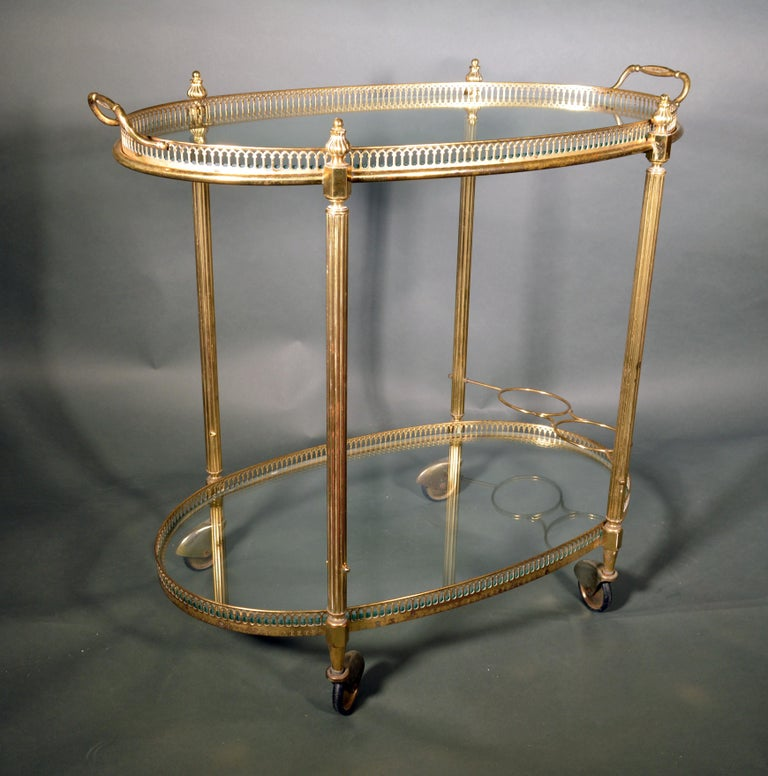 Mid-Century Modern French Brass and Glass Bar Cart, the 1950s For Sale 3