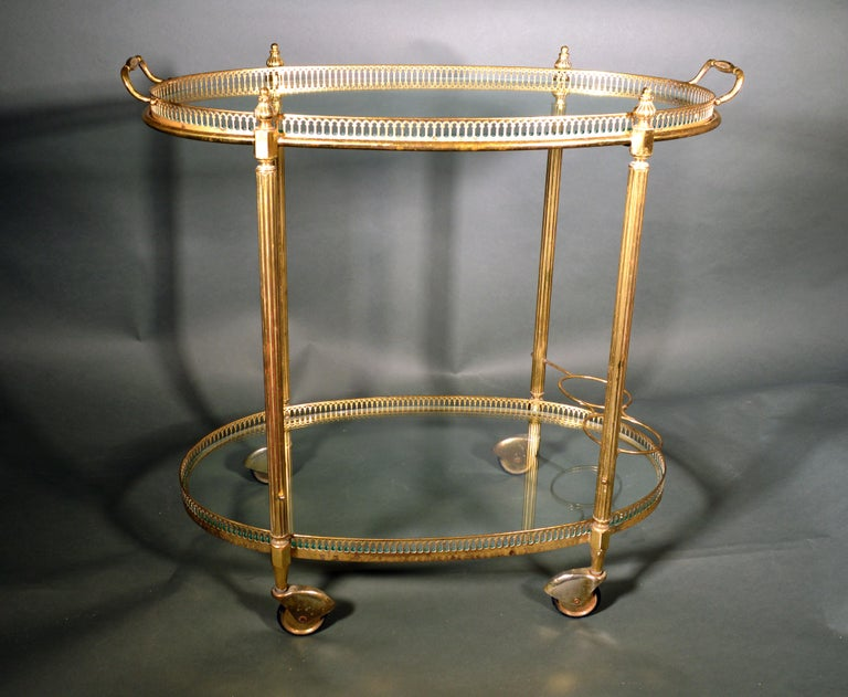Mid-Century Modern French Brass and Glass Bar Cart, the 1950s For Sale 4