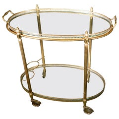 Mid-Century Modern French Brass and Glass Bar Cart, the 1950s