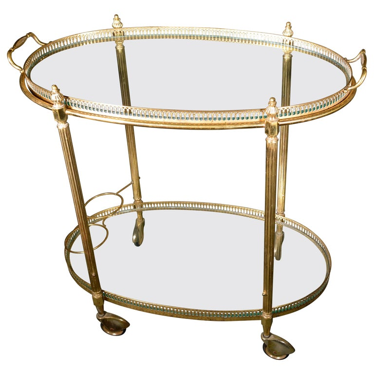 Mid-Century Modern French Brass and Glass Bar Cart, the 1950s For Sale