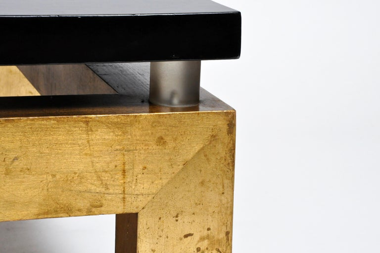 Gold Leaf Mid-Century Modern French Coffee Table For Sale