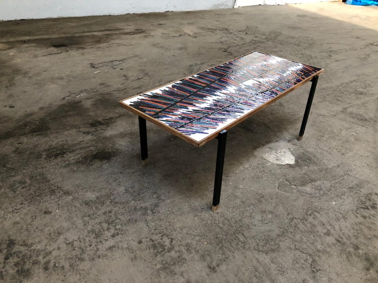 Mid-Century Modern French Coffee Table with Ceramic Tile Top, 1960s For Sale 1
