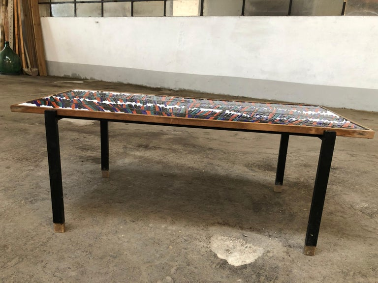 Mid-Century Modern French Coffee Table with Ceramic Tile Top, 1960s For Sale 2