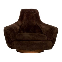 Mid-Century Modern French Decorateur Plush Papa Bear Lounge Chair