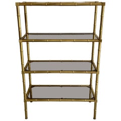 Mid-Century Modern French Faux Bamboo Brass Étagère by Maison Baguès, 1960s