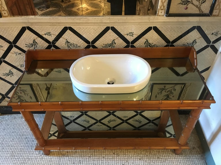 Mid-Century Modern French Faux Bamboo Cupboard Sink with Mirror Top, 1920s In Good Condition For Sale In Florence, IT
