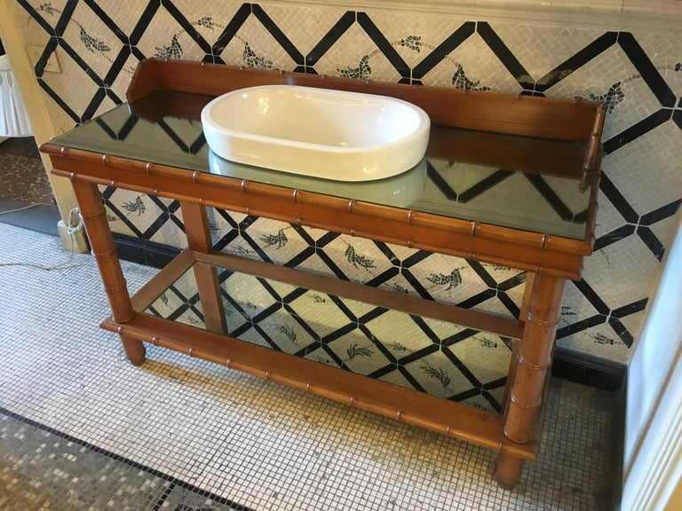 Early 20th Century Mid-Century Modern French Faux Bamboo Cupboard Sink with Mirror Top, 1920s For Sale