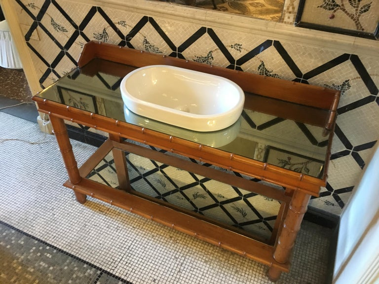 Mid-Century Modern French Faux Bamboo Cupboard Sink with Mirror Top, 1920s For Sale 1