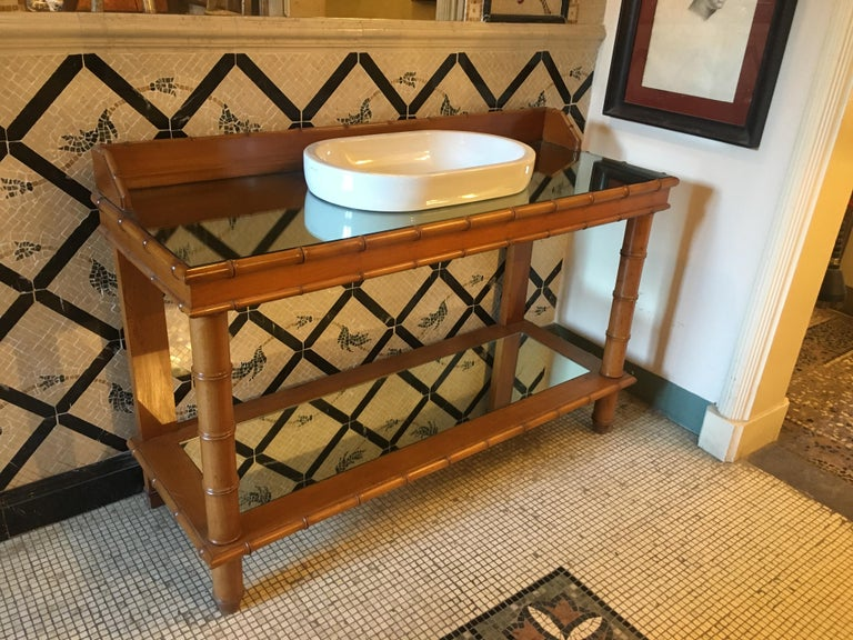 Mid-Century Modern French Faux Bamboo Cupboard Sink with Mirror Top, 1920s For Sale 2