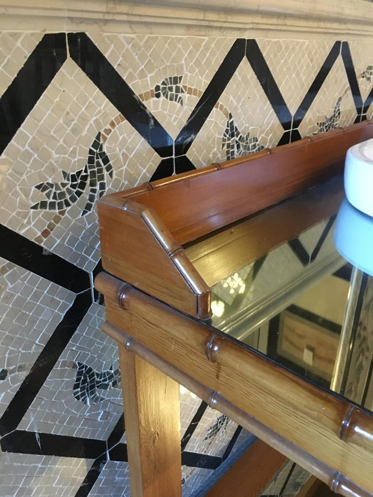 Mid-Century Modern French Faux Bamboo Cupboard Sink with Mirror Top, 1920s For Sale 5