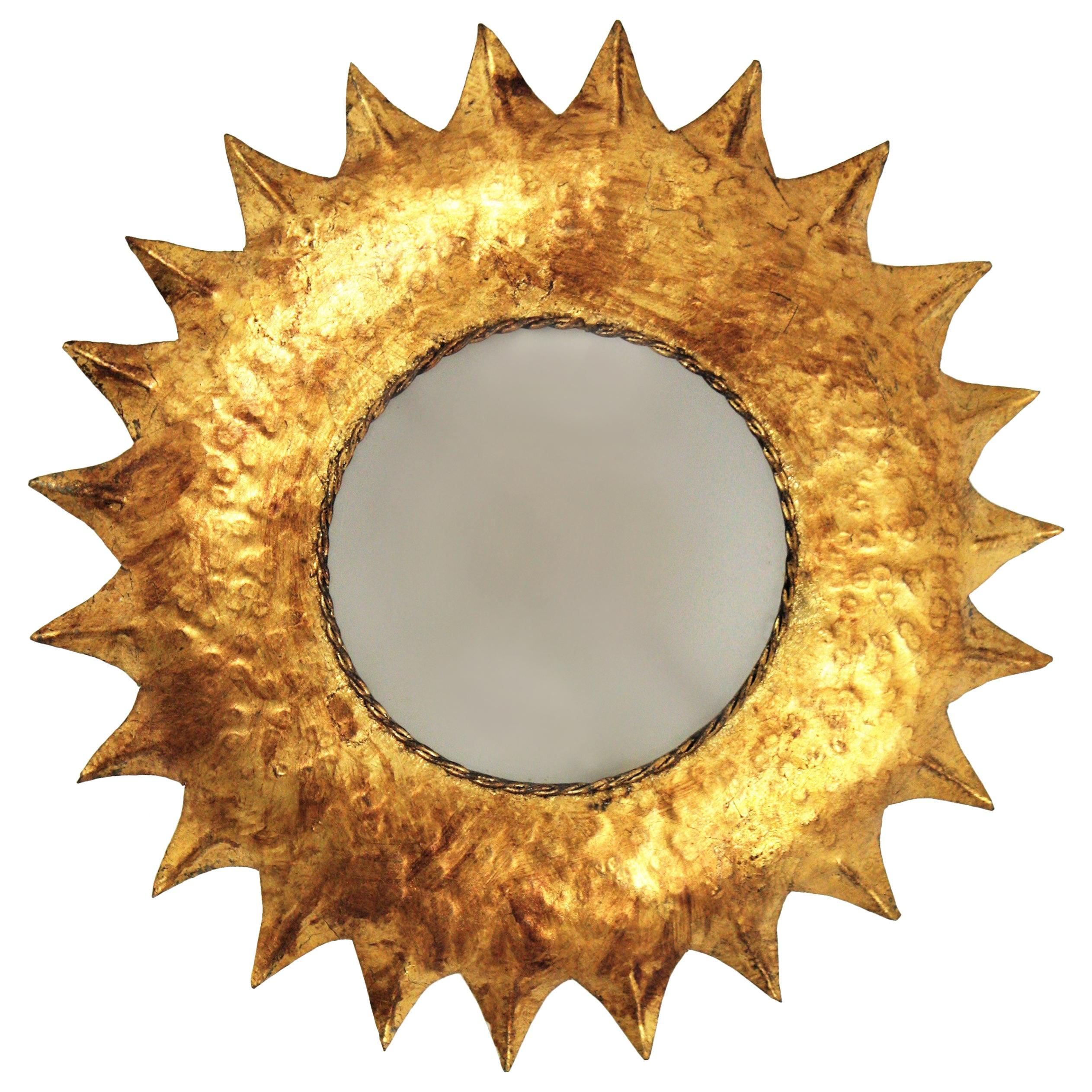 Mid-Century Modern French Gilt Metal Sunburst Flush Mount with Frosted Glass