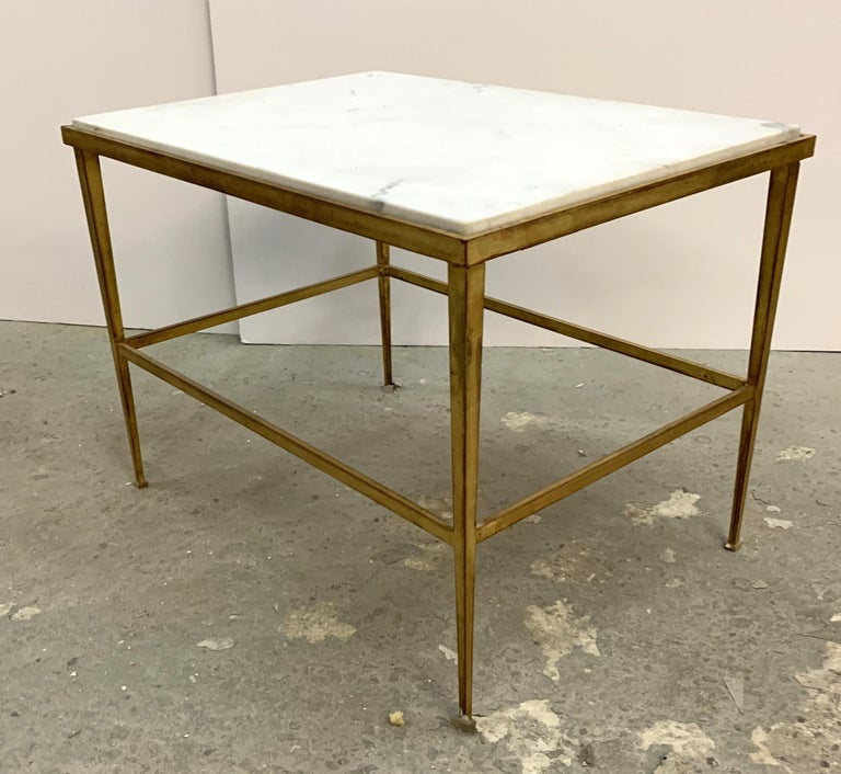 Gold Gilt Versailles Marble Top Coffee Table: Mid-Century Modern French Gold Gilt Iron Marble-Top
