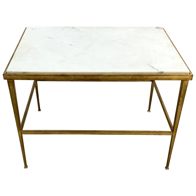 Mid Century Modern Marble Top Coffee Table: Mid-Century Modern French Gold Gilt Iron Marble-Top