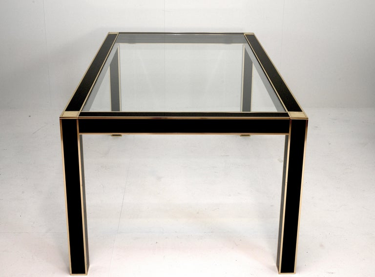 Mid-Century Modern French Lacquered Dining Table with Glass Top by Pierre Cardin In Good Condition For Sale In Prato, IT