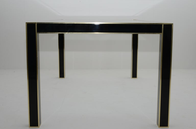 Late 20th Century Mid-Century Modern French Lacquered Dining Table with Glass Top by Pierre Cardin For Sale