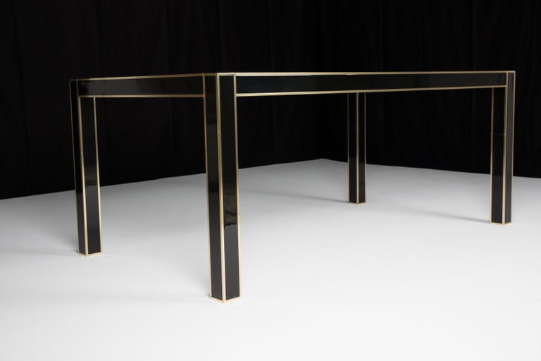 Mid-Century Modern French Lacquered Dining Table with Glass Top by Pierre Cardin For Sale 1