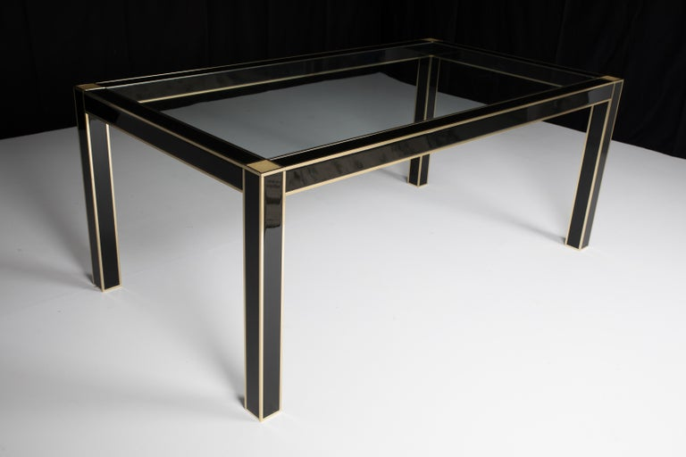 Mid-Century Modern French Lacquered Dining Table with Glass Top by Pierre Cardin For Sale 2