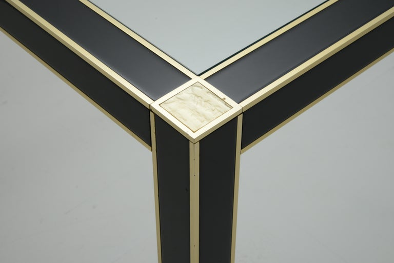 Mid-Century Modern French Lacquered Dining Table with Glass Top by Pierre Cardin For Sale 4