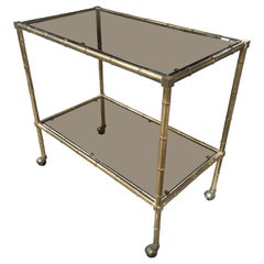 Mid-Century Modern French Maison Baguès Gilt Metal Faux Bamboo Bar Cart, 1960s