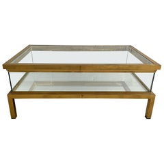 Mid-Century Modern French Maison Jansen Brass Sliding Top Coffee Table, 1970s