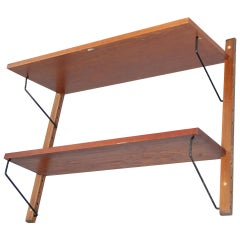 Mid-Century Modern French Modular System Shelve, Wood and Metal