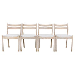 Mid-Century Modern French Oak Dining Chairs, Set of Four