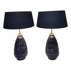 Mid-Century Modern French Pair of Table Lamps Blue Pottery St.Lambert