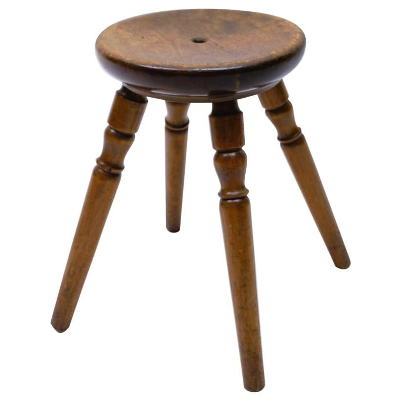 Mid-Century Modern French Primitive 4-Legs Wooden Stool, 1950s