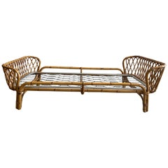Mid-Century Modern French Riviera Bamboo and Rattan Twin Bed, 1960s