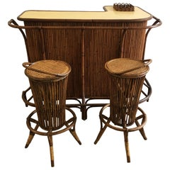 Mid-Century Modern French Riviera Bamboo Bar with Stools, 1970s