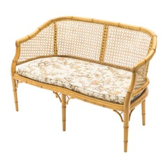 Mid-Century Modern French Riviera Cane Bamboo Sofa, 1960s