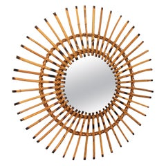 Mid-Century Modern French Riviera Rattan Sunburst Mirror with Pyrography Details