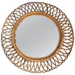 Mid-Century Modern French Riviera Wicker Cane Sunburst Circular Wall Mirror