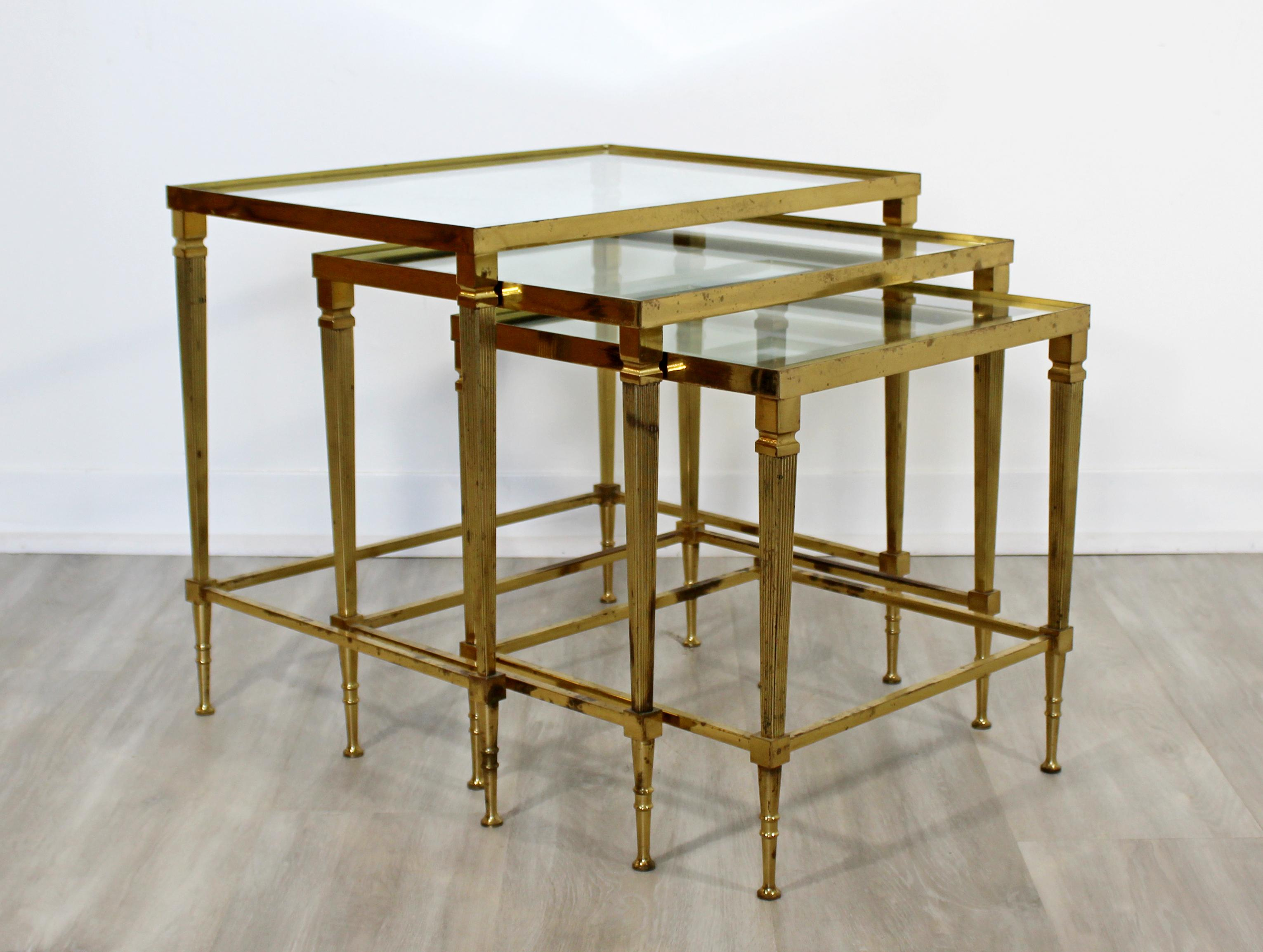 Mid Century Modern French Set Of 3 Nesting Stacked Side Tables Brass And  Glass