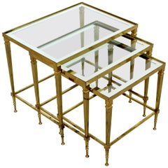 Mid-Century Modern French Set of 3 Nesting Stacked Side Tables Brass and Glass