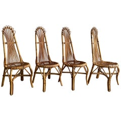 Mid-Century Modern French Set of 4 Bamboo and Rattan Dining Chairs, 1960s