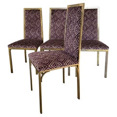 Mid-Century Modern French Set of 4 Gilt Metal Chairs, 1970s