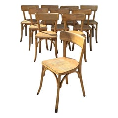 Mid-Century Modern French Set of Bistro Wooden Chairs, 1950s