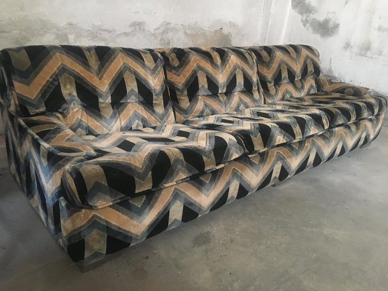 Mid-Century Modern French three-seat sofa with original velvet fabric by Gérard Guermonprez, 1970s