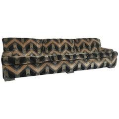 Mid-Century Modern French Sofa with Original Velvet Fabric by Gérard Guermonprez