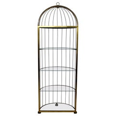 Mid-Century Modern French Steel Brass and Glass Shelving Birdcage Étagère, 1960s