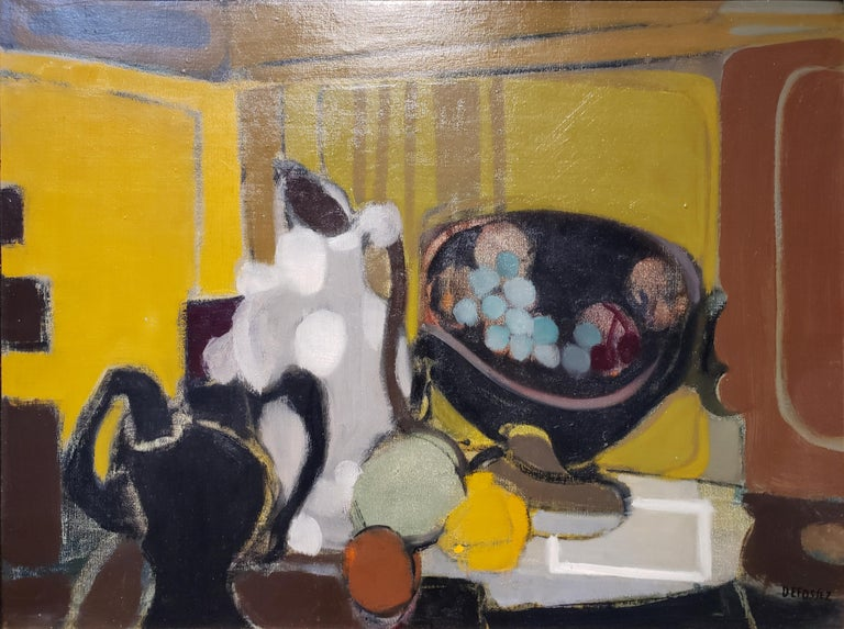 Modern still life with strange bowls and vases and cool-toned pastel colored fruits in front of the warm background of an inner room. Striking composition of shapes and colors painted by French artist Alfred Defossez, circa 1960s. Framed in gilded