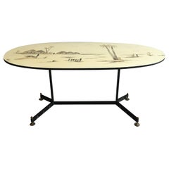 Mid-Century Modern French Table with Metal and Brass Legs and Decorated Top