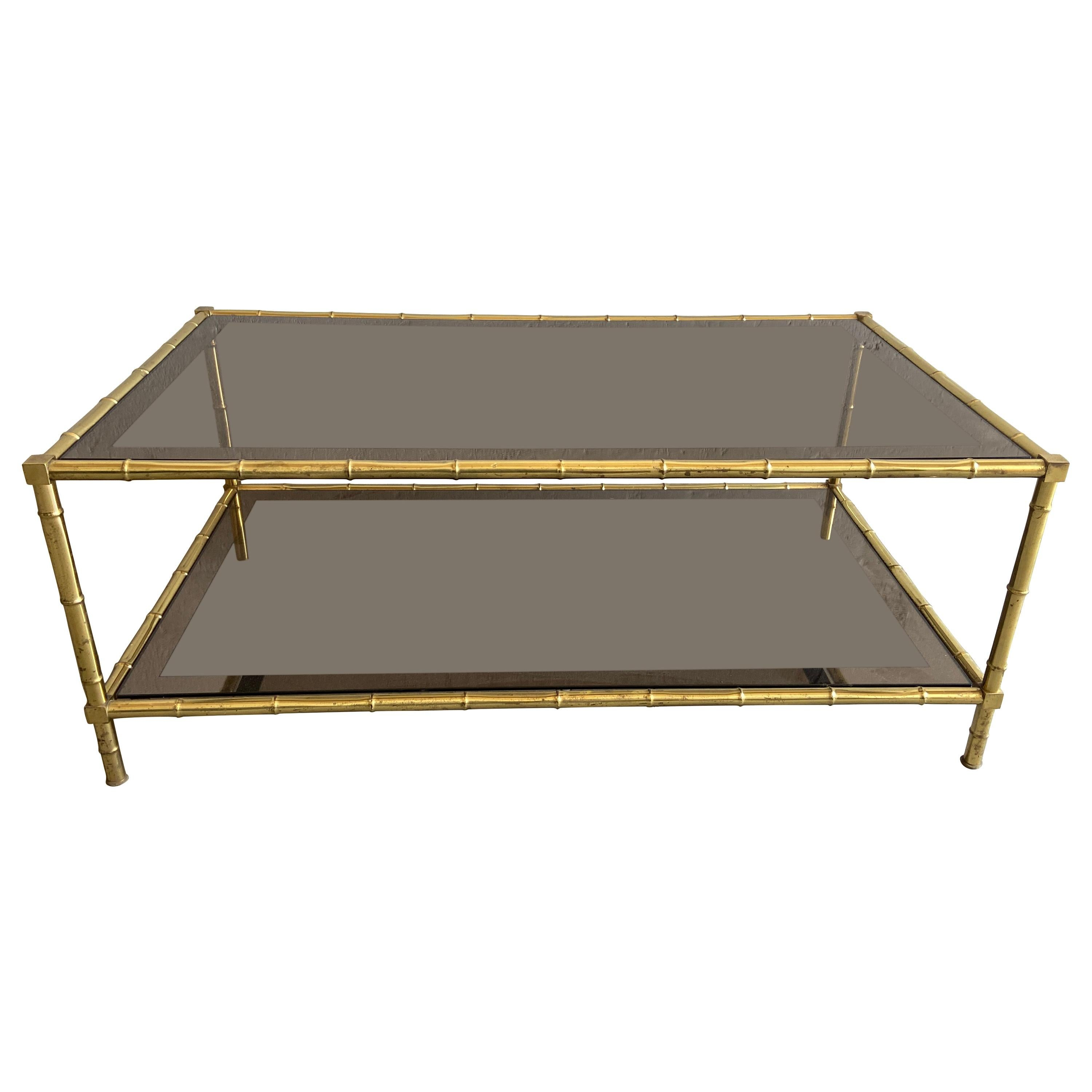 Mid-Century Modern French Two-Tier Maison Baguès Brass Coffee or Sofa Table