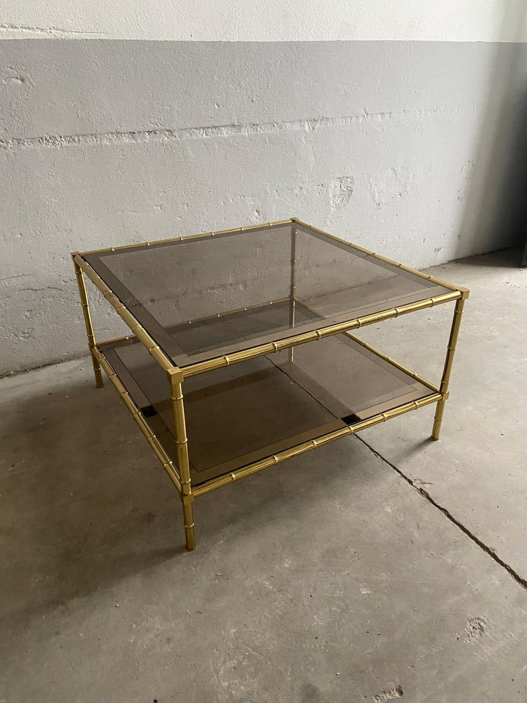 Mid-Century Modern French Two-Tier Maison Baguès Coffee or Sofa Table, 1960s In Good Condition For Sale In Prato, IT