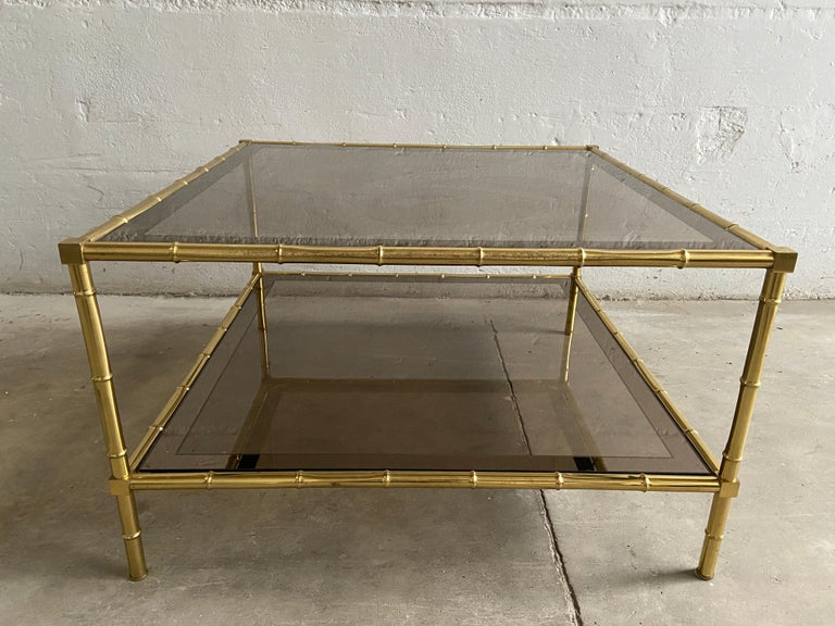 Mid-20th Century Mid-Century Modern French Two-Tier Maison Baguès Coffee or Sofa Table, 1960s For Sale