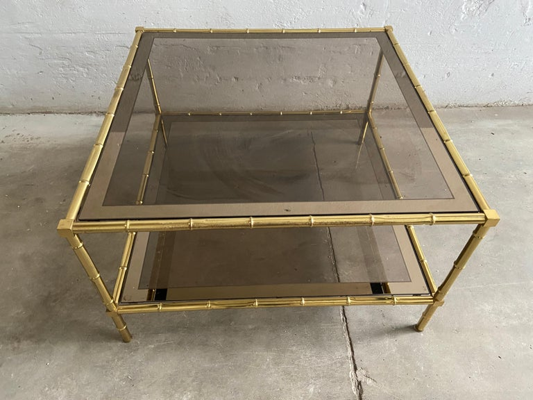 Brass Mid-Century Modern French Two-Tier Maison Baguès Coffee or Sofa Table, 1960s For Sale