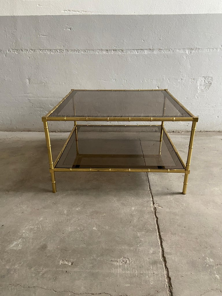 Mid-Century Modern French Two-Tier Maison Baguès Coffee or Sofa Table, 1960s For Sale 1