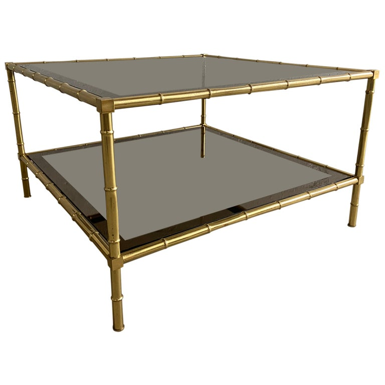 Mid-Century Modern French Two-Tier Maison Baguès Coffee or Sofa Table, 1960s For Sale
